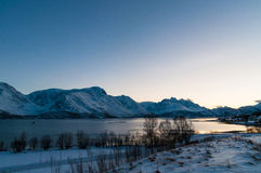 Scenic dawn during polar night at near Lyngseidet village, Norwa Royalty Free Stock Photos