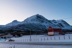 Scenic dawn during polar night at near Lyngseidet village, Norwa Royalty Free Stock Image