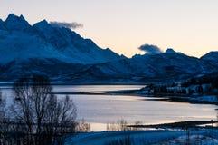 Scenic dawn during polar night at near Lyngseidet village, Norwa Royalty Free Stock Photography