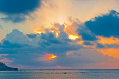 Scenic dawn sky over the sea in good weather Stock Photography