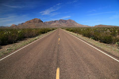 Scenic Desert Highway. In Big Bend National Park, Texas royalty free stock photos