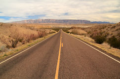 Scenic Desert Highway. In Big Bend National Park, Texas stock photo