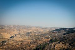 Scenic desert view near Nebo Mount, Jordan royalty free stock images