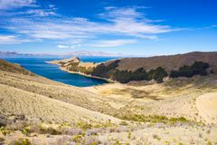 Scenic dramatic landscape on Island of the Sun, Titicaca Lake, among the most scenic travel destination in Bolivia. Royalty Free Stock Photography