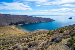 Scenic dramatic landscape on Island of the Sun, Titicaca Lake, among the most scenic travel destination in Bolivia. Stock Photography