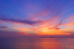 Scenic, Dramatic Sunset over Sea. Pattaya beach, Thailand Royalty Free Stock Photography