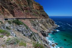 Scenic drive- Cape Town. Extensive engineering along Cape Town's Chapmans peak Drive, to prevent falling rocks Royalty Free Stock Photo