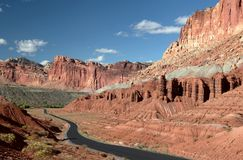 Scenic Drive Capital Reef NP. The Scenic Drive in Capital Reef National Park Stock Photo