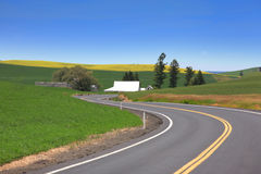 Scenic drive through farm Stock Photo