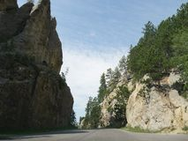 Scenic drive at Needle\'s Highway, South Dakota. Medium close up view from Needles Highway at the Custer State Park in South Dakota royalty free stock images