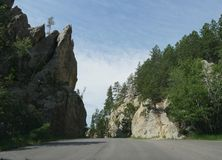Scenic drive at Needle\'s Highway, South Dakota. Needles Highway scenic drive at the Custer State Park in South Dakota royalty free stock images