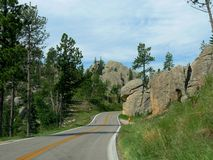 Scenic drive at Needle\'s Highway, South Dakota. Popular scenic drive along the 14-mile Needles Highway in South Dakota stock image