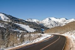 Scenic drive through the snowy mountains of Utah royalty free stock photos