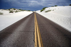 Scenic Drive Through White Sands Stock Photo