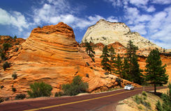 Scenic drive in Zion national park stock photo