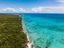 Scenic drone view of Saona island, Dominican republic royalty free stock image