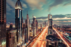 Scenic Dubai downtown architecture in the evening. Royalty Free Stock Photo