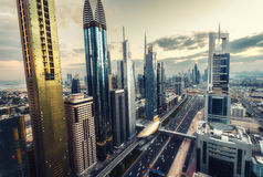 Scenic Dubai downtown architecture in the evening. Royalty Free Stock Photography