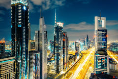 Scenic Dubai downtown architecture at night. Skyline. Stock Image