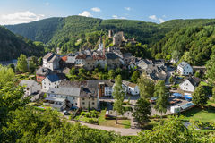 Scenic, elevated view of Esch-Sur-Sure town in Luxembourg Royalty Free Stock Image