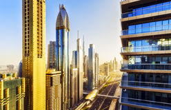 Scenic elevated view over famous road in Dubai with skyscrapers. Royalty Free Stock Photos