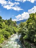 Scenic elevated view to Passer River in Merano, South Tyrol, Italy stock photos