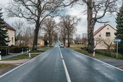 Scenic european countryside road with quality asphalt. On spring season royalty free stock image