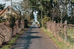 Scenic european countryside road with quality asphalt. On spring season royalty free stock photos