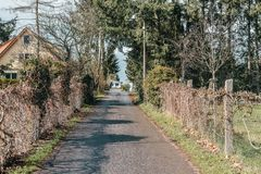 Scenic european countryside road with quality asphalt. On spring season royalty free stock images