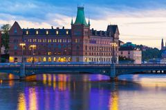 Scenic evening panorama of Stockholm, Sweden royalty free stock photography