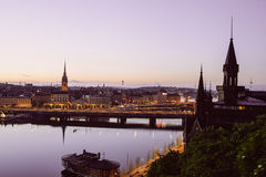 Scenic evening panorama of Stockholm Royalty Free Stock Image