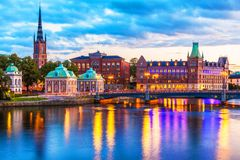 Scenic evening panorama of Stockholm, Sweden Royalty Free Stock Photo