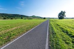 Scenic express bike lane in rural landscape. Scenic bike lane in rural landscape in summer stock photo