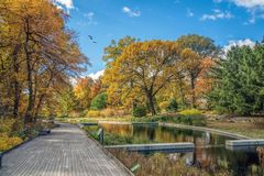 The New York Botanical Garden. Scenic fall view at the New York Botanical Garden in the Bronx, NY Royalty Free Stock Image