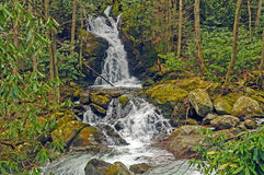 Scenic Falls in the Wild Mountains. Mouse Creek Falls in the Smoky Mountains stock images