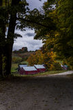 Scenic Farm and Winding Dirt Road - Autumn / Fall Colors - Vermont Royalty Free Stock Photo