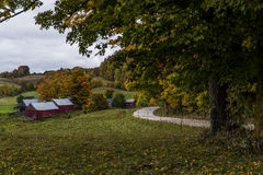Scenic Farm and Winding Dirt Road - Autumn / Fall Colors - Vermont Royalty Free Stock Photos