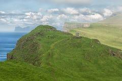 Scenic Faroe island landscape in summer. Stock Photos