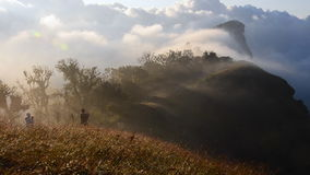 Scenic of fast moving mist over high mountain stock footage