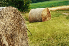 Scenic field with hay bale Royalty Free Stock Photography