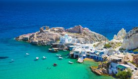 Scenic Firopotamos village traditional Greek village by the sea, the Cycladic-style with sirmata. stock images