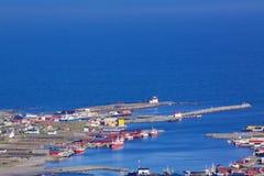 Fishing harbor. Scenic fishing harbor of Sorland on Vaeroy, Lofoten islands, Norway Royalty Free Stock Photos