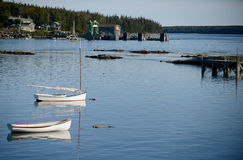 Scenic fishing village in Maine near Acadia National Park Stock Images