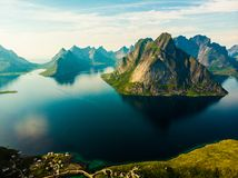 Fjord and mountains landscape. Lofoten islands Norway stock images