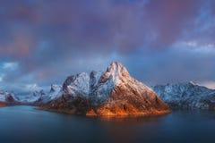 Scenic fjord on Lofoten islands, Reine, Norway. royalty free stock image