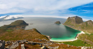 Scenic fjord on Lofoten islands with typical fishing hut Royalty Free Stock Photos
