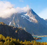 Scenic fjord on Lofoten islands with typical Stock Photo