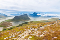 Scenic fjord on Lofoten islands with typical Stock Photography