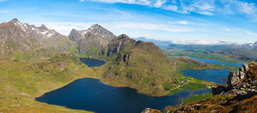 Scenic fjord on Lofoten islands with typical Royalty Free Stock Photos