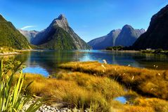 New Zealand, Milford Sound, Scenic Mountains Landscape. A scenic fjord - Milford Sound, Fiordland National Park. South Island, New Zealand`s most famous tourist Stock Images